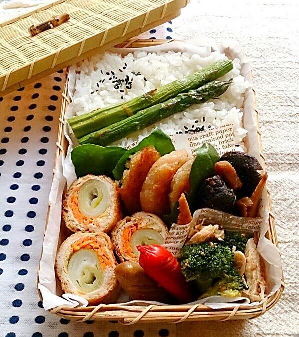 posted from @nachipower115 @お弁当アート ~日本のお弁当文化~ 今日のパパのお弁当は豚肉のネギ人参巻き、筍と干し椎茸のテンメンジャンコチュジャン炒め煮、プリプリえびのはんぺん焼き、アスパラソテー、ウインナー、ブロッコリーと笹身の棒々鶏風等でした。#obentoart