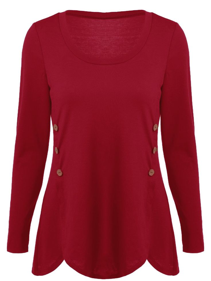 Only $7.06 for Double-Breasted Design Asymmetrical T-Shirt in Red | Sammydress.com