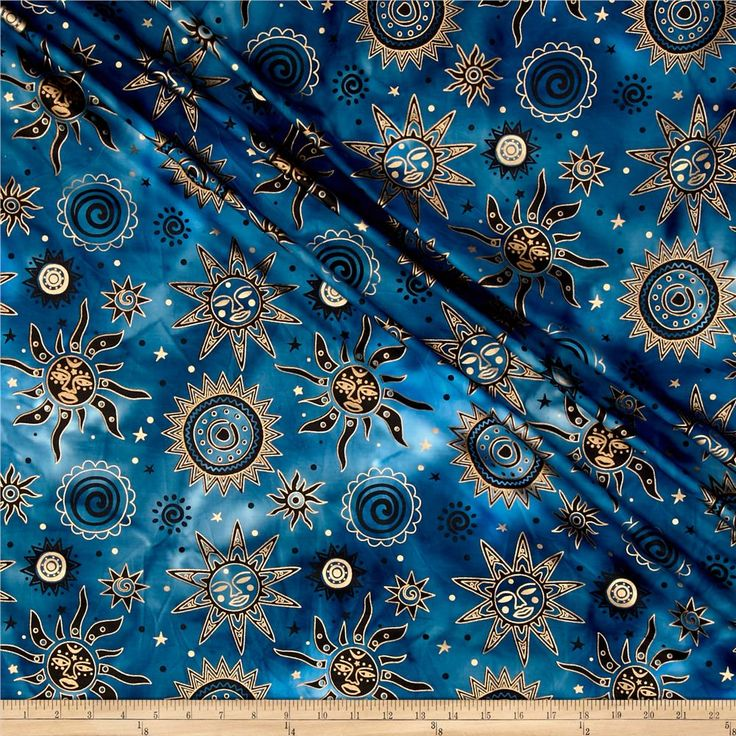 Indian Batik Odyssey Gold Sun Blue Black Home Colors