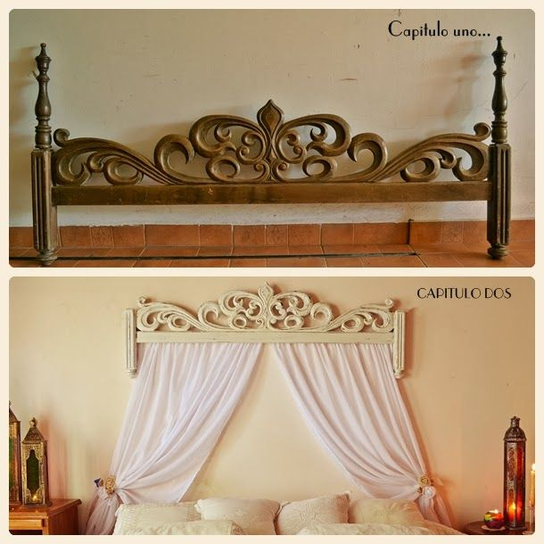 Before and after. Upcycled footboard, now baldaquino.