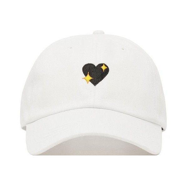 Emo Heart Dad Hat ($28) ❤ liked on Polyvore featuring accessories, hats, embroidered hats, heart hat, gothic hats and embroidery hats