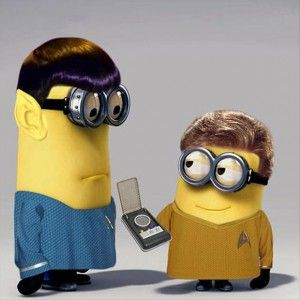 star trek minions - Spock: It is illogical to find this so amusing... Kirk: Spock, it's a friggin' minion joke! Loosen up a little! Spock: Yes, Captain.