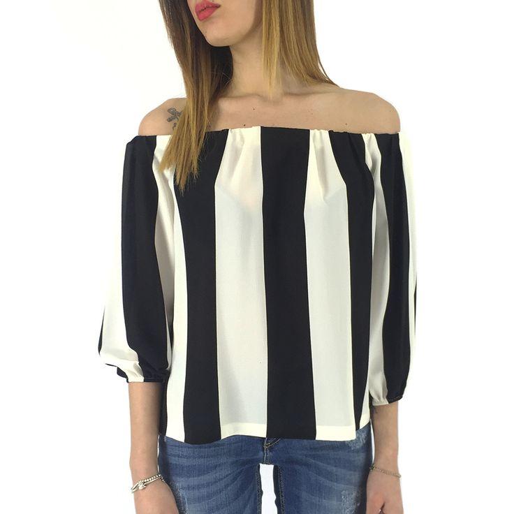 Camicia bianca e nera con righe verticali Kontatto