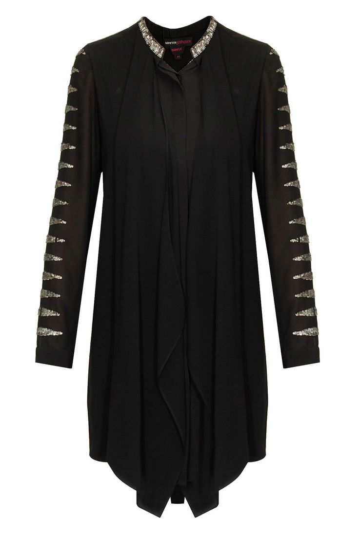 Black embroidered drape tunic by Namrata Joshipura. Shop now: http://www.perniaspopupshop.com/designers/namrata-joshipura #tunic #namratajoshipura #shopnow #perniaspopupshop