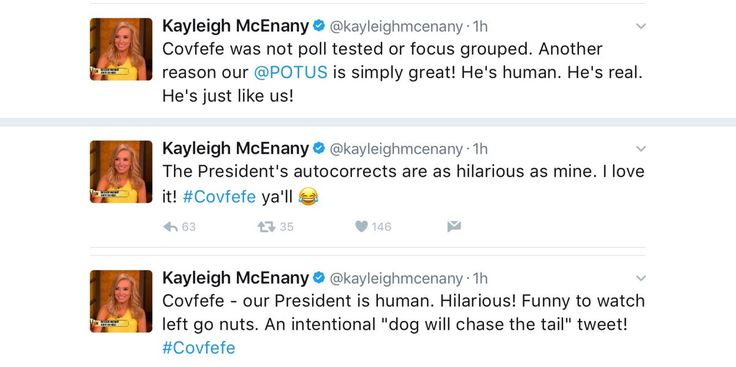 These Kayleigh McEnany tweets defending #covfefe as intentional then accidental then gut politics are simply nuts. I mean covfefe.pic.twitter.com/x0xfR02pTo Florida SEO  Brevard SEO  SEO Biz Marketing