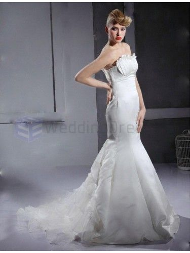 Trumpet Mermaid Strapless Sleeveless Satin Organza Court Train Wedding Dress