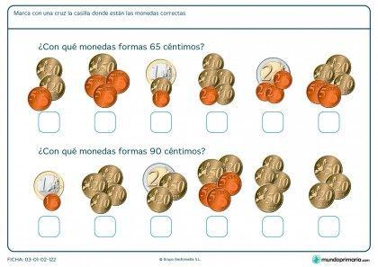 Ficha de interpretar monedas para Primaria