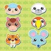 스톡 일러스트 - 6, 귀여운, 만화, 동물의 머리, 아이콘 k13180208 - EPS 클립 아트, 그림, 벽화, 일러스트레이션, 그리고 벡터 그래픽 이미지 검색 - k13180208.eps