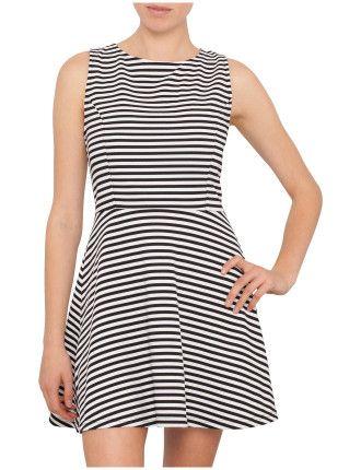 Staple the Below Stripe Tulip Dress | David Jones #davidjones #trend #season #fashion #style #new #shop #black #white #nautical #stripe