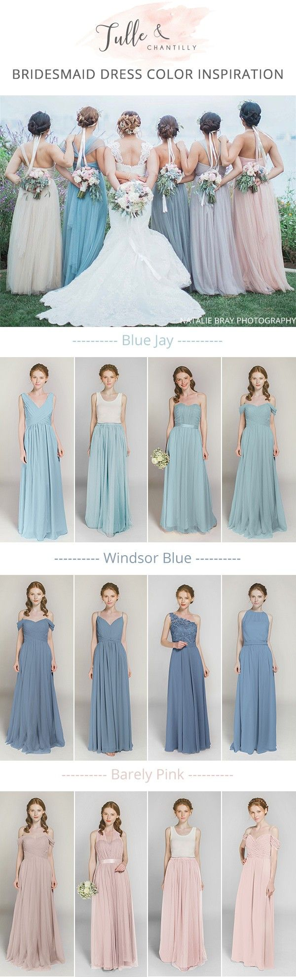 mismatched shades of blue and pink long bridesmaid dresses