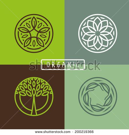 Vector abstract emblem - outline monogram - ecology sign and icons - logo design templates - stock vector