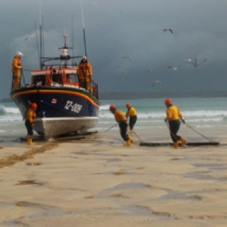 @RNLI lifeboat crew from St Ives, Devon returning from a training exercise
