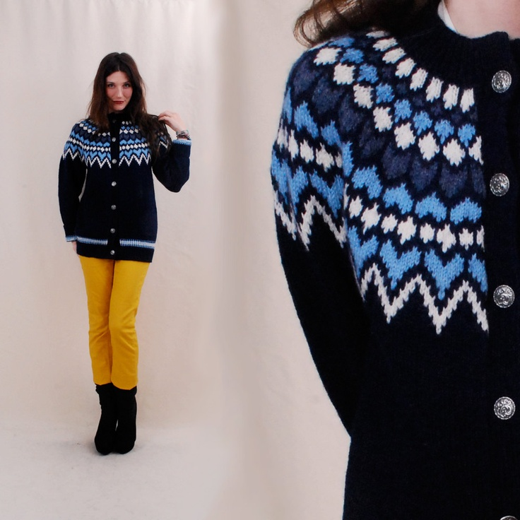 VINTAGE 50s Norwegian Sweater, fair isle sweater, handknit cardigan - via Etsy.