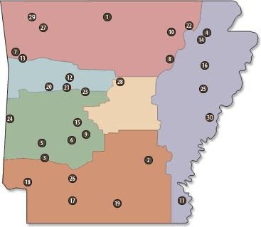 Map of Arkansas state parks and camping locations.