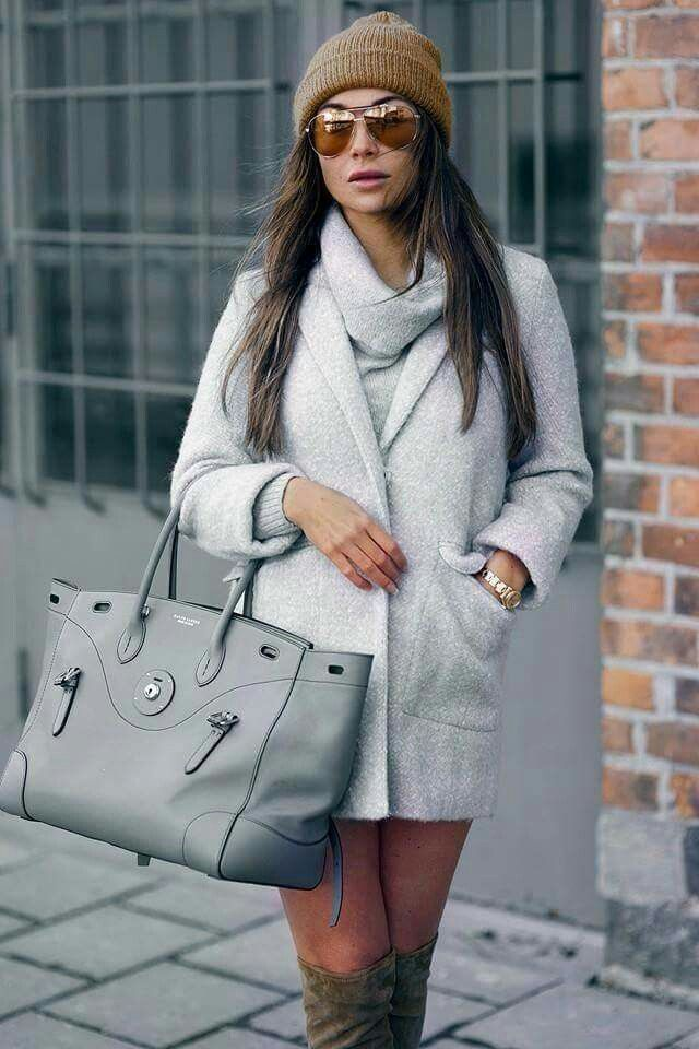 Light grey coat, grey scarf outfit, fall/winter outfit, overknee boots, grey clothes, knit outfit