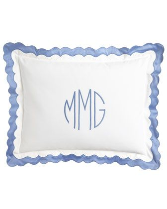 Matouk Paloma Bedding / blue & white / #monogram #scallops
