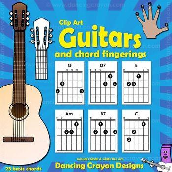 Guitar Chords: Clip Art Guitar Fingerings and GuitarsThis is a clip art set of guitar chord fingerings, guitars, and guitar picks.  Fantastic for creating…