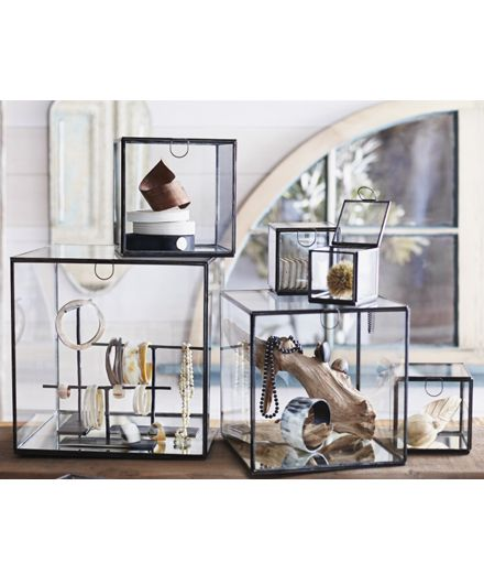 Exhibit your prized possessions in understated elegance by housing them in these fabulous glass boxes from Roost. Each box features delicate brass edgework and mirrored bases to maximize light reflect