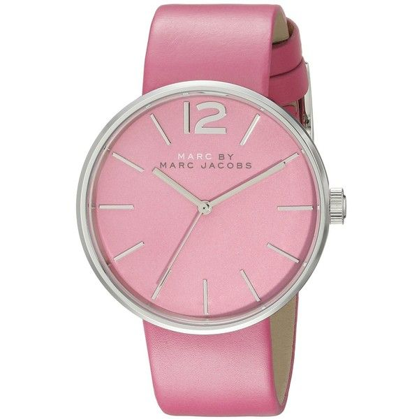 Marc by Marc Jacobs Analog Display Analog Quartz Pink Watch ($150) ❤ liked on Polyvore featuring jewelry, watches, leather-strap watches, pink wrist watch, marc by marc jacobs, pink-face watches and pink quartz jewelry