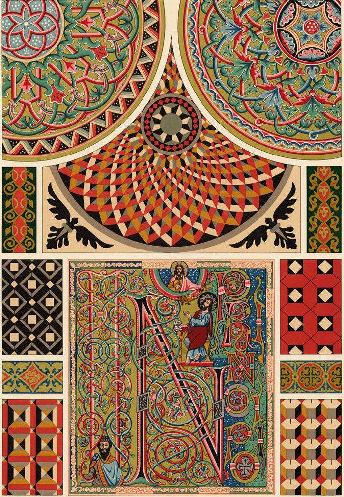 d tails sur d coration style arabesque moyen age enluminure lithographie xix me arabesque. Black Bedroom Furniture Sets. Home Design Ideas