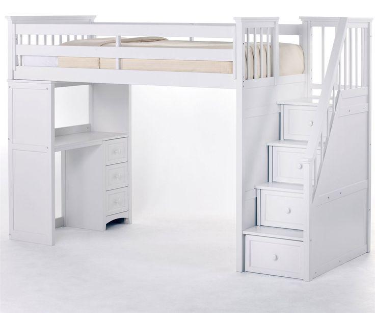 NE Kids School House Stair Loft Bed in White Model 7090 staircase loft bed with desk