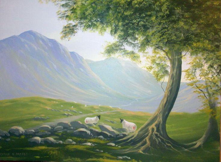 summer-shade.jpg - Painting,  2x24x18 in ©2013 by Cathal O Malley -              trees, sheep, connemara