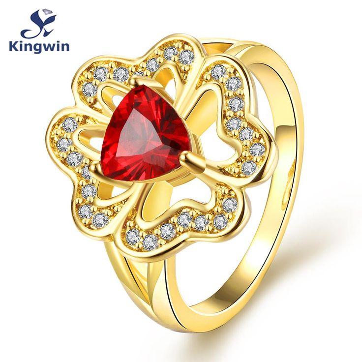 Dubai mode-sieraden 18 k geel goud plating synthetische gem kleur steen vrouwen ring bloem ontwerpen ruby red belofte ringen(China (Mainland))