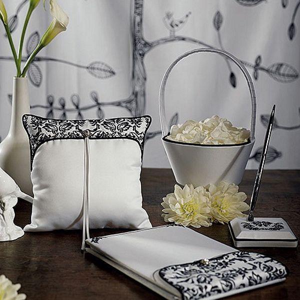 Black And White Damask Love Birds Wedding Accessory Set Weddingceremony Weddingreception Weddingcollection