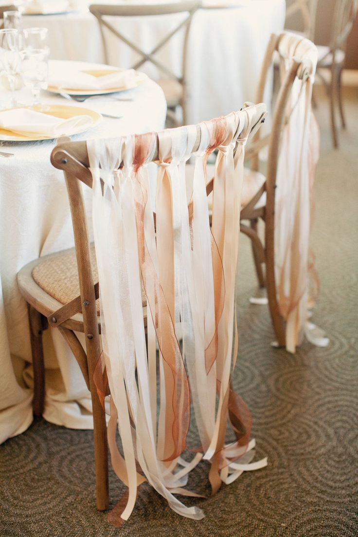 bride and groom reception chair decor ribbon streamers