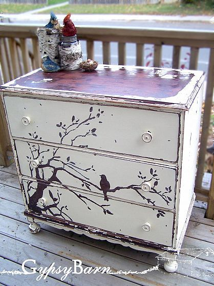 LOVE this bird and tree print on this dresser...sweet! By Gypsy Barn on HomeTalk