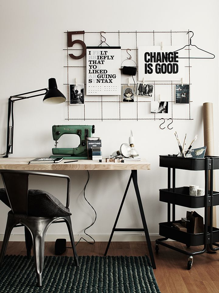 Inspiration only Wire grid wall. Place above a desk in a small office. Clip on notes, mementos, etc. using clothes pins.