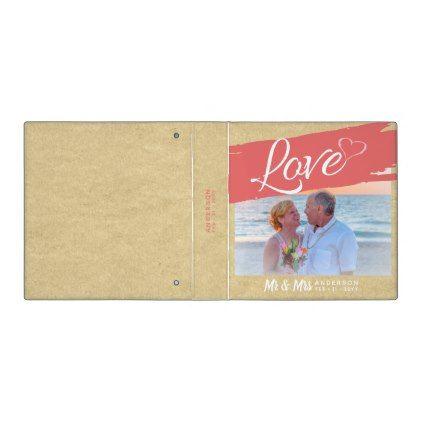 Modern Photo Album Bridal Party Gift Rustic Beach 3 Ring Binder - bridal gifts bride wedding marriage