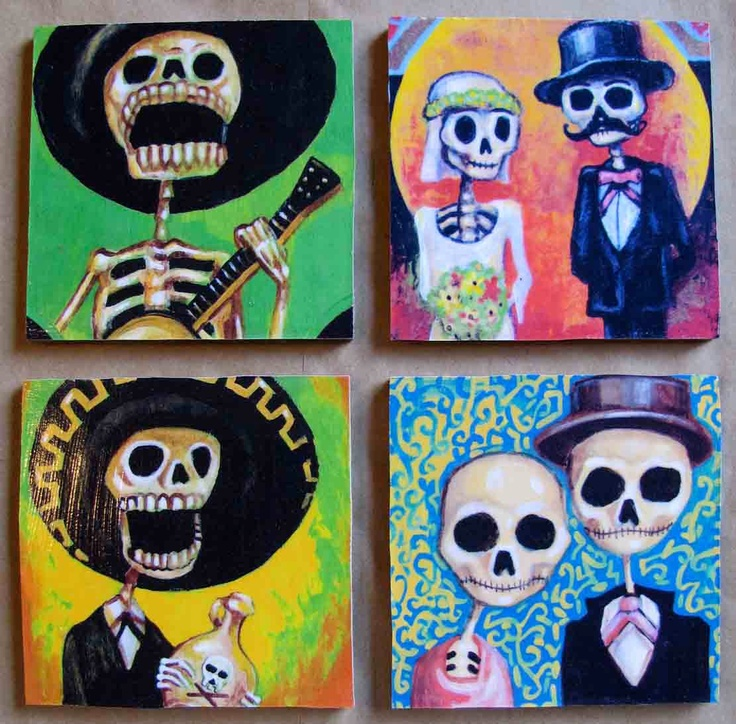 Handmade Coaster Set  Day of the Dead by theflaskshop on Etsy, $14.95