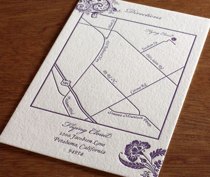 Im In Love With This Floral Letterpress Wedding Invitation Map By Invitations