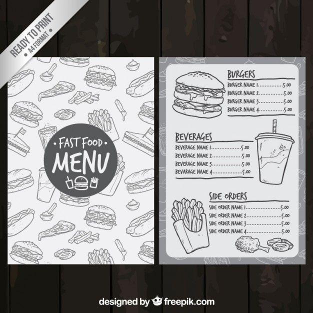 Эскизные меню быстрого питания Free Vector