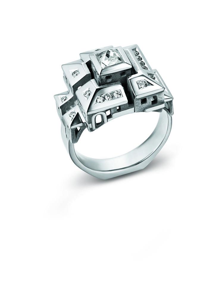 Bague Philippe Tournaire Cité Carrée #tournaire #jewels #Architecture #jewelry #luxe