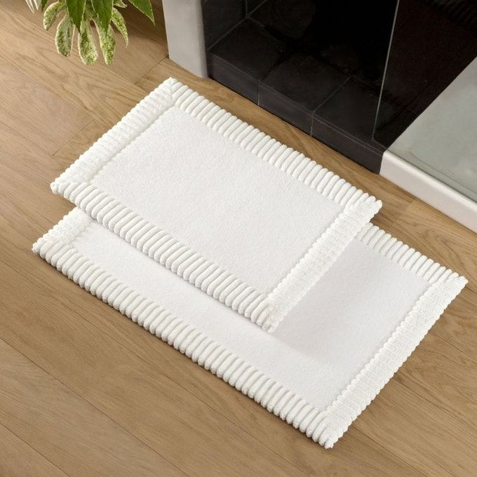 tapis bain chenille blanc polyester