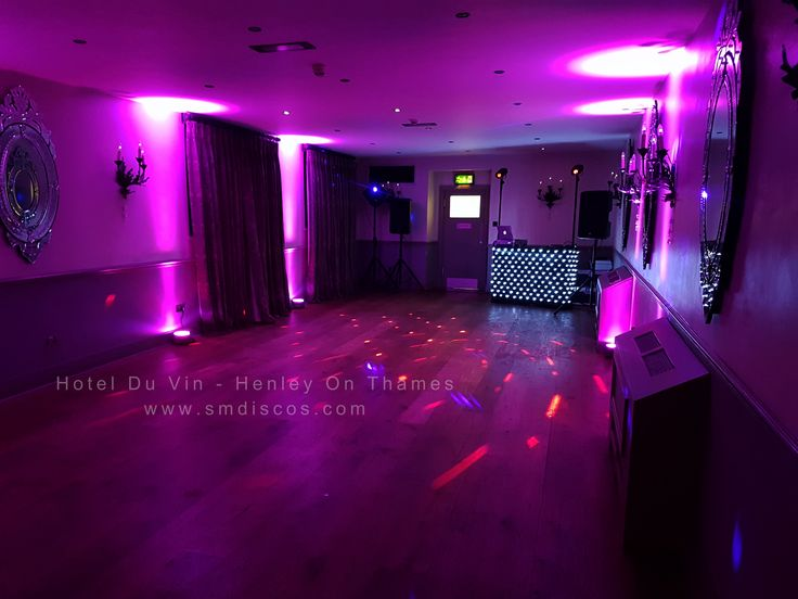 Looking for a Wedding DJ for Henley On Thames? This is our dj set up at The Hotel Du Vin in Henley along with our purple uplighters. Contact us now for a quote on your wedding disco in Henley Oxfordshire #smdiscos #weddingdjhenley #hotelduvin