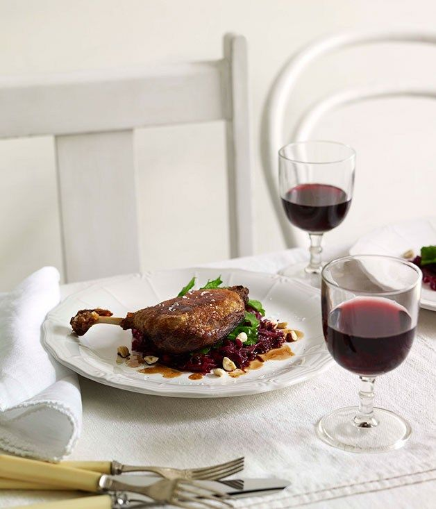Slow-cooked duck, braised red cabbage and hazelnuts |