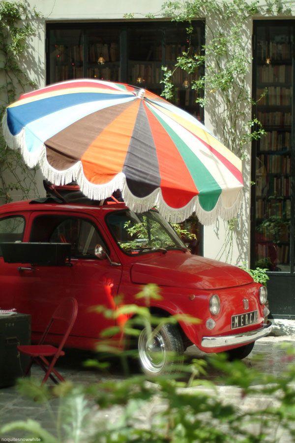 #Fiat 500 shielded from the #Italian sun! MicroCar #Classic #Cute #Adorable #Love