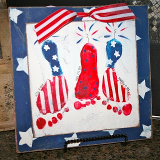 Patiotic Footprint Plaque -paintingmehappy