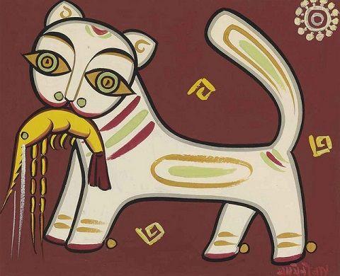 Cat with prawn, Jamini Roy