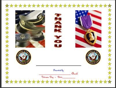 Free Beautiful Veteran's Day Certificates for your Special Veterans...