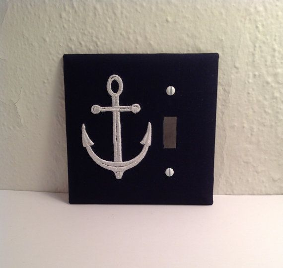 Nautical Anchor Light Switch Cover Plate Navy by LightningBugs, $15.50