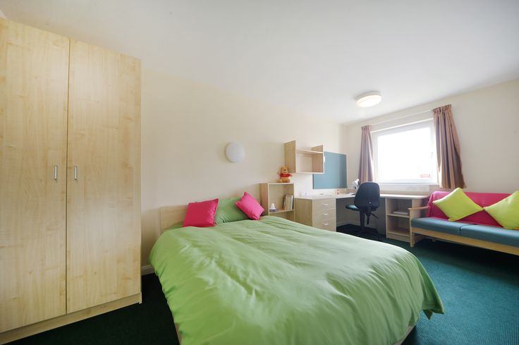 Double Silver. This room has less floor space than the Gold, but comes with the same desk, study chair, two-seater sofa, notice board, wardrobe and book shelves, mirror and curtains, electric heater, double bed with underbed storage and free WiFi.