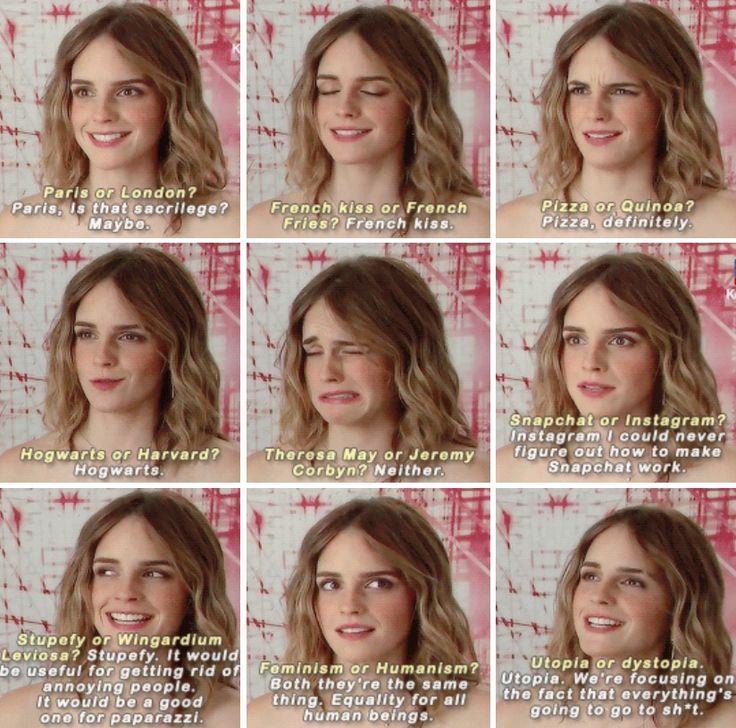 Emma Watson...haha I love her logic