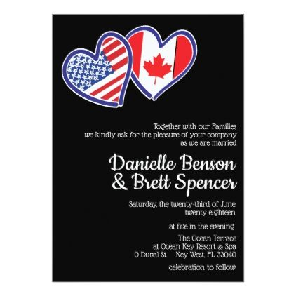 American Canadian Love Wedding Invitation Groom Gifts Pinterest