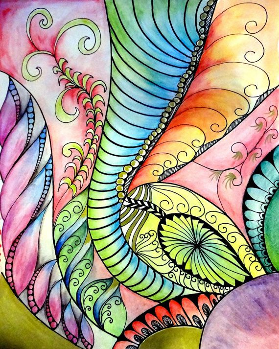 set of 3 abstract zentangle with watercolors by tanglewithgs