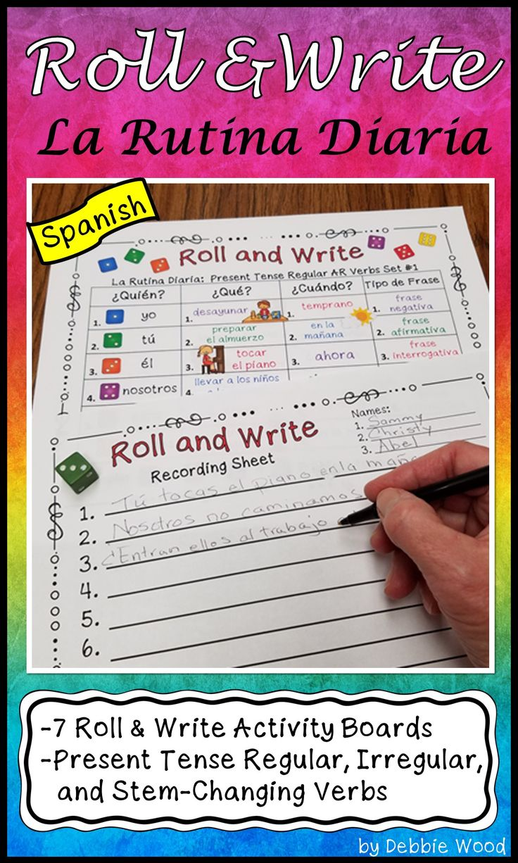 "Students will have fun writing Spanish sentences about their daily routines using these engaging ""Roll and Write Activity Boards"". All the verbs on the boards have been specifically chosen to reinforce daily routine vocabulary."