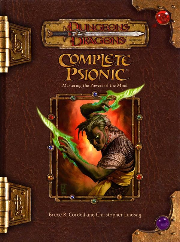 Complete Psionic (3.5)   Book cover and interior art for Dungeons and Dragons 3.0 and 3.5 - Dungeons & Dragons, D&D, DND, 3rd Edition, 3rd Ed., 3.0, 3.5, 3.x, 3E, d20, fantasy, Roleplaying Game, Role Playing Game, RPG, Open Game License, OGL, Wizards of the Coast, WotC, TSR Inc.   Create your own roleplaying game books w/ RPG Bard: www.rpgbard.com   Not Trusty Sword art: click artwork for source